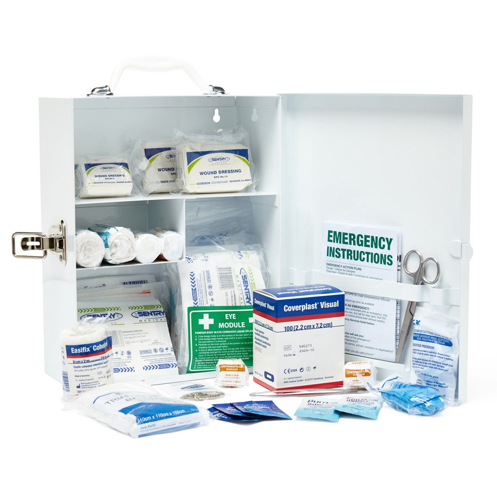 First aid kit metal small wall mounted restaurant for First aid kits for restaurant kitchens